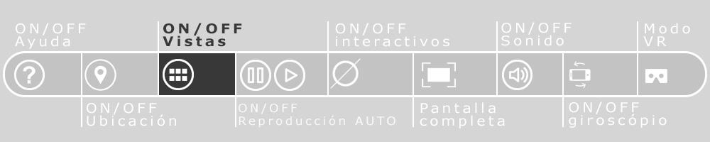 Imagen de la barra de navegación de los recorridos virtuales que resalta el botón para abrir el listado de panorámicas