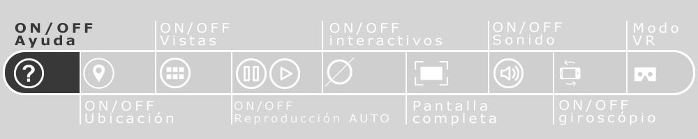 Imagen de la barra de navegación de los recorridos virtuales que resalta el botón de ayuda que es un símbolo de pregunta