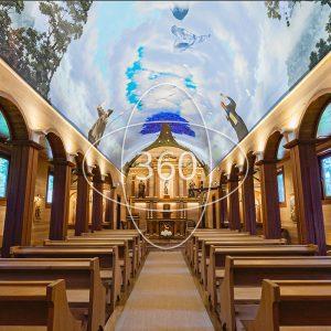 fotografía del interior de la iglesia de Vodudahue con un ícono de 360 sobre ella que invita al recorrido virtual patrimonial
