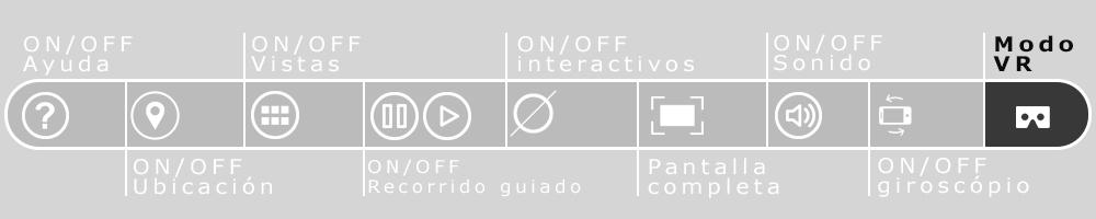 Imagen de la barra de navegación de los recorridos virtuales que resalta el botón de realidad virtual