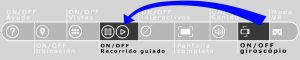 Imagen de la barra de navegación de los recorridos virtuales que resalta el botón del giroscopio y del botón play y pausa
