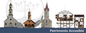 banner de patrimonio accesible, se muestra 4 fotografías de 4 edificios patrimoniales sobre una franja azul donde destaca el nombre de la página