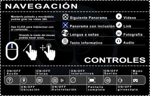 Imagen gráfica con la función de todos los botones presentes en el tour virtual