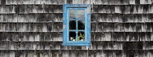 Imagen de cabecera de patrimonio accesible, se aprecia un fondo de tejas chilotas con una ventana azul al medio