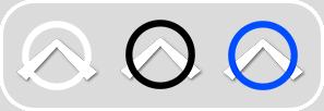 Imagen de los 3 botones que sirven para navegar en los recorridos virtuales para pasar de panorámica en panorámica